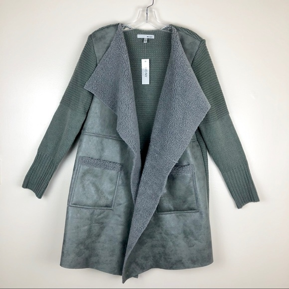 86fce39fc9a WD.NY Gray Faux Shearling Knit Duster Cardigan XL NWT
